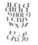 English hand drawn abc from a to z. English hand drawn abc from a to z and numbers set. Capital font made with nib and serif, decorated hatch alphabet, painted Royalty Free Illustration