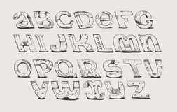 English hand drawn funky font from a to z. Calligraphy made with nib, decorated grunge alphabet, painted in freehand style. Isolat Stock Photo