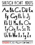 English handwriting alphabet. figures Royalty Free Stock Photo