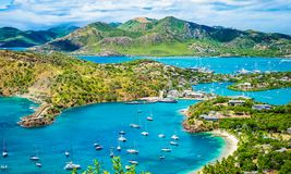 English harbor in Antigua and Barbuda, Caribbean. Beautiful bright and colorful aerial view of English harbor, Shirley Heights in Antigua, Caribbean. Beautiful stock photo