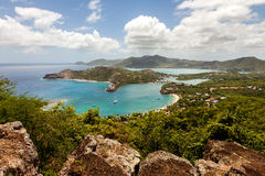 English Harbour Nelson's Dockyard Antigua. Tropical Caribbean Landscape of English Harbour and Nelson's Dockyard in Antigua stock photo