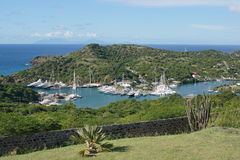 English Harbour and Nelsons Dockyard, Antigua and Barbuda, Carib. Panorama view over English Harbour and Nelsons Dockyard, Antigua and Barbuda, Caribbean stock photo