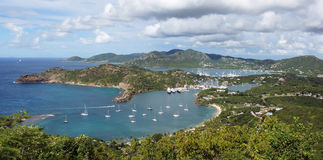 English Harbour and Nelsons Dockyard, Antigua and Barbuda, Carib. Panorama view over English Harbour and Nelsons Dockyard, Antigua and Barbuda, Caribbean stock images