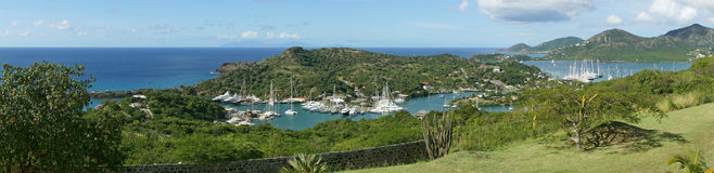 English Harbour and Nelsons Dockyard, Antigua and Barbuda, Carib. Panorama view over English Harbour and Nelsons Dockyard, Antigua and Barbuda, Caribbean royalty free stock photos