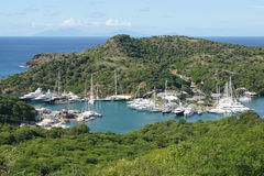 English Harbour and Nelsons Dockyard, Antigua and Barbuda, Carib. Panorama view over English Harbour and Nelsons Dockyard, Antigua and Barbuda, Caribbean royalty free stock photo