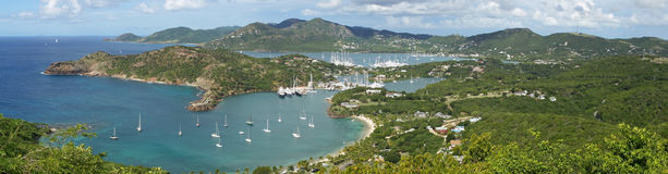 English Harbour and Nelsons Dockyard, Antigua and Barbuda, Carib. Panorama view over English Harbour and Nelsons Dockyard, Antigua and Barbuda, Caribbean royalty free stock image
