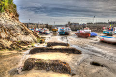 English harbour Newquay Cornwall South West England UK like a painting in HDR Royalty Free Stock Photos
