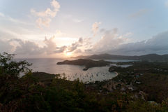 English Harbour from Shirley Heights at Sunset. Stock Images