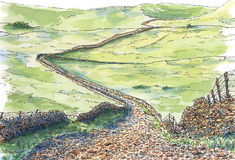 English hilly meadows and stony road. Ink and watercolor on rough paper Stock Photos