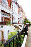 English Homes.Row of Typical English Terraced Houses at London. Royalty Free Stock Photos