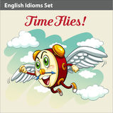 An English Idiom. Showing a clock flying Stock Photos