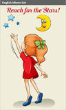 English idiom showing a girl reaching the stars Stock Photo