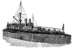 English ironclad Victoria Biggest Marine Monster on 1887. Stock Photo