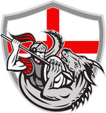 English Knight Fighting Dragon England Flag Shield Retro. Illustration of an English knight in full armor with lance fighting dragon with England flag in Stock Photography