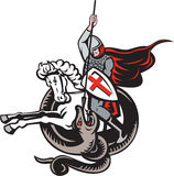 English Knight Fighting Dragon England Flag Shield Retro. Illustration of an English knight in full armor with lance fighting dragon with England flag in Stock Photos
