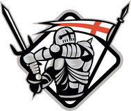 English Knight Fighting Sword England Flag Retro. Illustration of an English knight in full armor holding sword with England flag in background done in retro Royalty Free Stock Photography