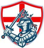 English Knight Full Armor With Sword Retro Stock Image