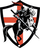 English Knight Riding Horse England Flag Retro Stock Images