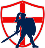 English Knight Silhouette England Flag Retro Stock Photography