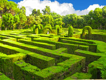 English labyrinth. English green labyrinth with a cloudy sky Stock Photography