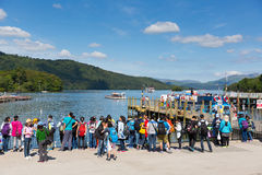 The English Lake District in summer with tourists students and visitors Windermere Cumbria England UK Royalty Free Stock Image