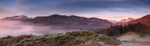 English Lake District. Winter sunrise over the Langdale Valley in the English Lake District Stock Photos