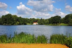 An English lake with house Royalty Free Stock Image