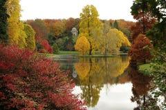 English lakeside gardens in the fall. Stourhead gardens, England, in the autumn Royalty Free Stock Photos
