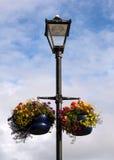 English lampost. With hanging flower basket display Royalty Free Stock Image