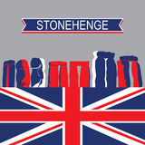 English Landmark StoneHenge with United Kingdom Flag Royalty Free Stock Photo