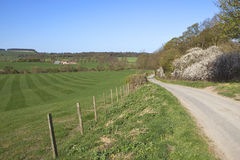 English landscape. An english landscape with rolling hills fields and hedgerows under a blue sky in springtime Stock Images