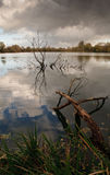 English landscape. Stormy sky over a remote lake view in rural England Stock Photo