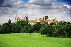 English landscape with catherdral and park Royalty Free Stock Photo