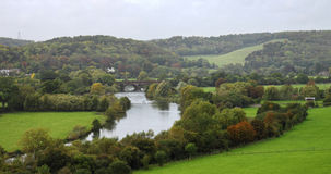 River Thames in South Oxfordshire. An English Landscape in the Chiltern Hills in South Oxfordshire with the river Thames stock image