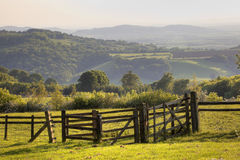 English landscape with gate at sunset Stock Photo