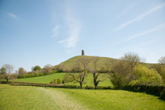 English landscape of glastonbury. Glastonbury tor and the landscape in somerset in England stock photography
