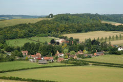 An English Landscape with Village in the Valley royalty free stock image