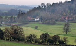 English Landscape in Winter with Country Pub Stock Photography
