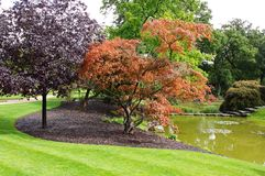 An English Landscaped Garden and Lake Stock Photo