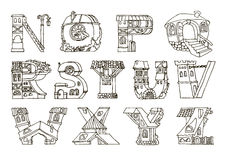 English language alphabet, letters in houses shape.Hand drawn font with retro style.Black and white line drawing. royalty free illustration