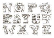 English language alphabet, letters in houses shape.Hand drawn fo. English language alphabet, letters in houses shape. Hand drawn font with retro style. Handmade royalty free illustration