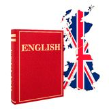 English language book with map of Britain, 3D rendering. Isolated on white background stock illustration