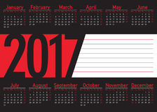 English language calendar 2017 horizontal. With big number and blank frame with lines to write, black, white and red color background Stock Images