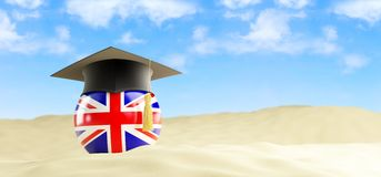 English language on holiday, graduation cap at the beach. 3d Illustrations Royalty Free Stock Photography