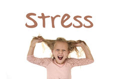 English language learning vocabulary school card with word stress and sweet young little schoolgirl royalty free stock image