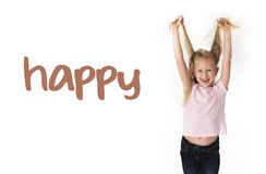 English language learning vocabulary school card of young beautiful happy female child excited. English language learning vocabulary school card of young Stock Photography