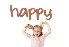 English language learning vocabulary school card of young beautiful happy female child excited. English language learning vocabulary school card of young Royalty Free Stock Images