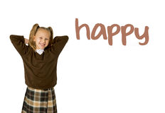 English language learning vocabulary school card of young beautiful happy female child. Gesturing excited and smiling cheerful rising arms isolated on white Stock Image