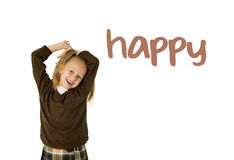 English language learning vocabulary school card of young beautiful happy female child. Gesturing excited and smiling cheerful rising arms isolated on white Stock Photo