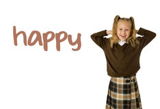 English language learning vocabulary school card of young beautiful happy female child. Gesturing excited and smiling cheerful rising arms isolated on white Stock Images